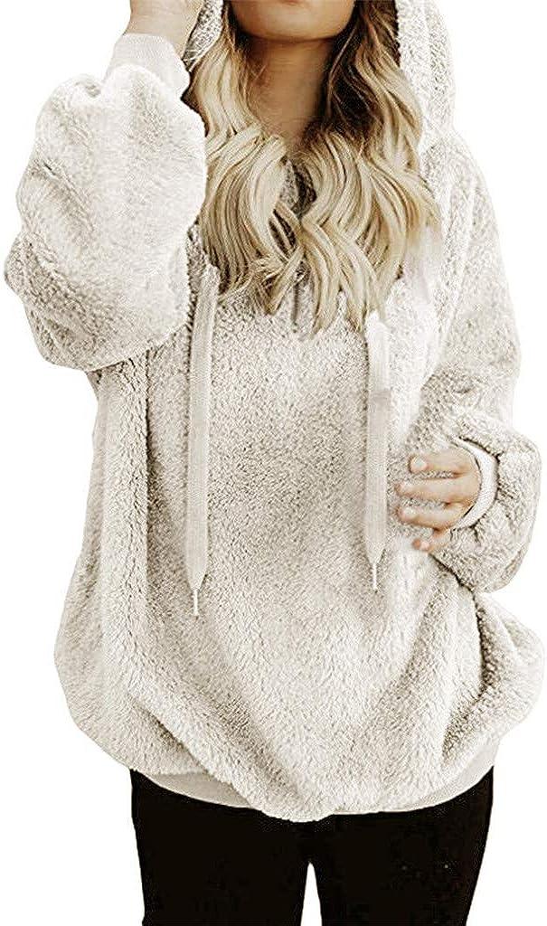 Women Hooded Sweatshirt Coat Long Sleeve Fuzzy Warm Hoodies Casual Wool Zipper Pockets Outwear