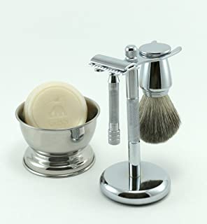 Shaving Gift Set 33C Short Handle Safety Razor with Pure Badger Bristle Brush Shaving Stand and Bowl GBS Shave Soap Included!