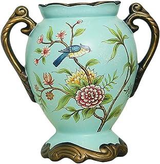 Ceramic Vase Vase European Pastoral Vintage Binaural Ceramic Large Vase Floral Set American Creative Living Room Decoratio...