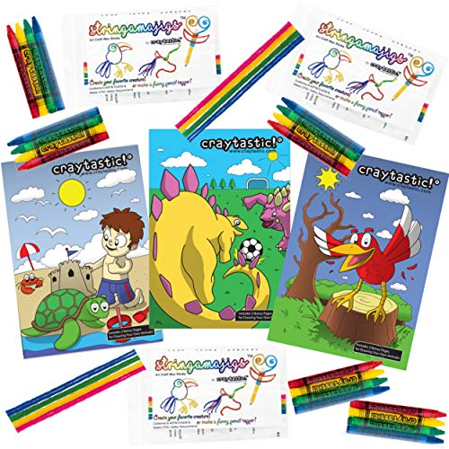 Craytastic! Kids Activity Assortment Bulk Set (48 Complete Sets): Individual 4-Pack of Crayons + Individual Coloring Book + Individual 8-Pack of Stringamags / Non-Toxic
