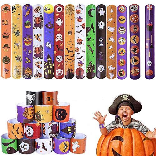 MEISHANG Feste Schiaffo Bracelets,Compleanno Braccialetti Slap,Braccialetti Slap per Bambini,Slap Bracelets Braccialetti,Bracciali Snap,Bracciali Bambini Halloween