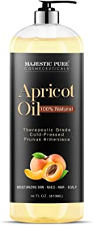 Majestic Pure Apricot Oil, 100% Pure and Natural, Cold-Pressed, Apricot Kernel Oil, Moisturizing, for Skin ...