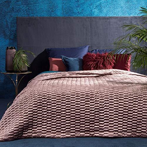 Eurofirany Hochwertige Tagesdecke Alli Velvet Samt Gesteppter Bettüberwurf Paillette Steppung Ganzjährig Samt Steppdecke Quilt XL (Altrosa)