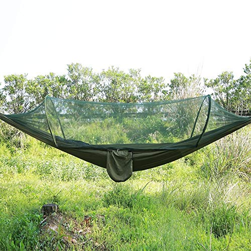 Anbel Portable Outside Tenting Full-automatic Nylon Parachute Hammock 250 X 120cm, Parachute Hammock, Bivouacking Hammock with Mosquito Network (Color : Army Green)