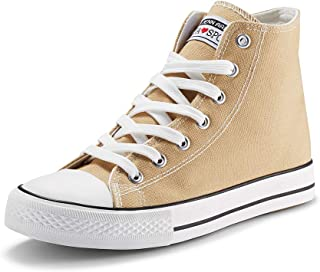 JENN ARDOR Women's Fashion Sneakers Canvas Shoes High Top Lace-up Classic Casual Flat Walking Shoes