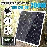 HUAJIN Panel Solar 200W con Las células solares 20/10 / 30A / 40A / 50A / 60A Controller Dual USB del regulador del regulador ect para el Coche Yate RV de Carga se Ilumina,60acontroller
