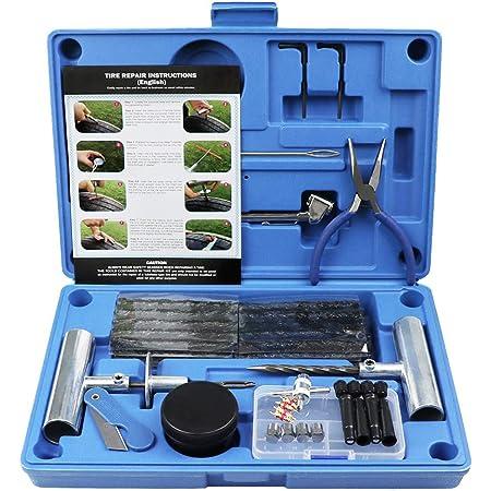 MAIKEHIGH Kit de réparation de Pneu Heavy Duty Ensemble de 67 pièces pour Moto, VTT, Jeep, Camion, Tracteur Réparation de Perforation de Pneu Plat