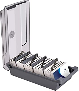 MaxGear Business Card Holder Business Card Box Business Card File Business Card Storage Business Index Card Organizer, Capacity: 500 Cards, Card Size: 2.2 x 3.6 inches, 4 Divider Boards & A-Z Guides