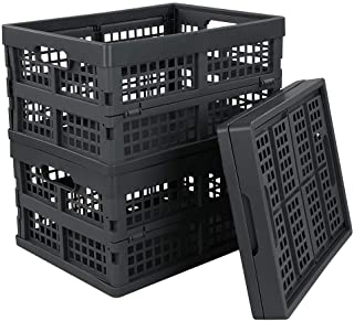 Idomy 3-PACK Plastic Folding Storage Crates, Collapsible Basket, 15 L, Gray