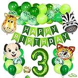 Bluelves Giungla Decorazioni 3 Compleanno, Foil Palloncino Numero 3, Palloncini Compleanno 3 Anni Verde, Compleanno 3 Anno, Ragazzo 3 Anni Compleanni, Forest Animal Palloncini per Festa Tema Giungla