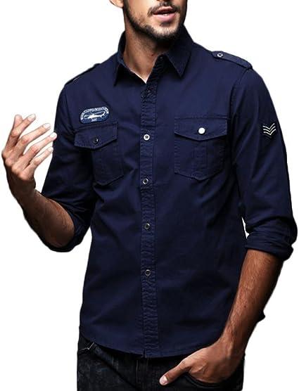 Hombre Camisas Manga Larga Militar Estilo Color Sólido ...