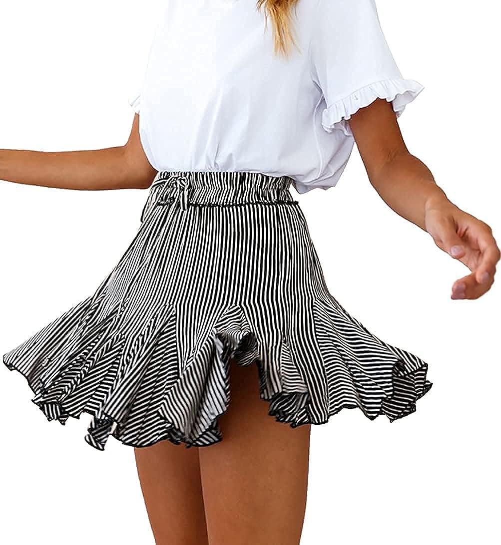 LYANER Women's High Waist Ruffle Mini Skirt Pleated Skater Drawstring Skirt