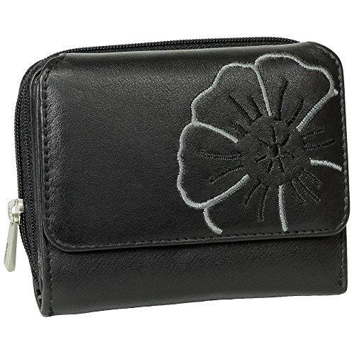 Branco Leder Geldbörse Portemonnaie Damenbörse Damen Geldbeutel Schwarz - sehr hochwertig