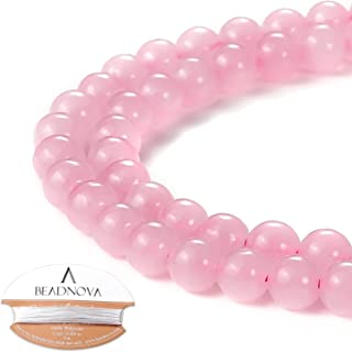 BEADNOVA Natural Rose Quartz Beads Natural Crystal Beads Stone Gemstone Round Loose Energy Healing Beads with Free Crystal Stretch Cord for Jewelry Making (6mm, 63-65pcs)