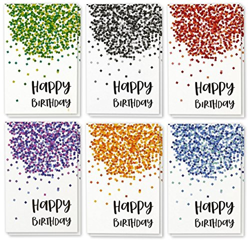 Verjaardagskaart - 48 stuks, verjaardagskaarten-box, opschrift