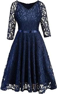 Womens Dress, Ladies Plus Size Cocktail Dress Short Sleeve Lace Midi Dress Elegant Evening Party Mini Skirt