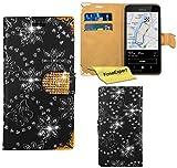 Nokia Lumia 530 Hülle, FoneExpert® Bling Luxus Diamant Hülle Wallet Hülle Cover Hüllen Etui Ledertasche Premium Lederhülle Schutzhülle für Nokia Lumia 530 + Bildschirmschutzfolie (Schwarz)