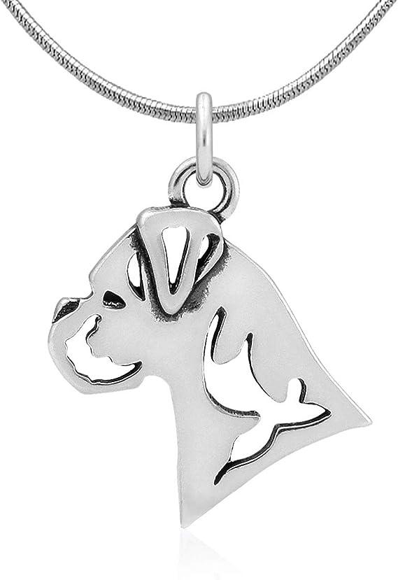 Natural Ears Head Sterling Silver Schnauzer Pendant