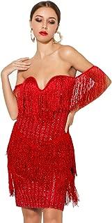Miss ord Women Off Shoulder Bustier Stripe Tassel Glitter Party Dress