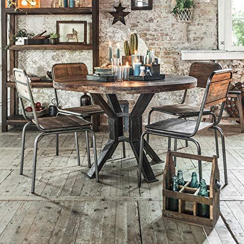 STUFF Loft eettafel Vintage Handgemaakt van gerecycled hout rond industrieel ontwerp - Afmeting: Ø 120 cm