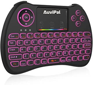 AuviPal R9 2.4GHz Mini Wireless Keyboard Mouse Combo for Streaming TV Stick/Android TV Box/PC and More - RGB Backlit Version