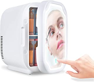 Kottwca Skincare Fridge 6 Litre Mini Fridge for Bedroom Quiet- AC/DC Portable Beauty Fridge Thermoelectric Cooler and Warmer with LED Makeup Mirror for Cars, Offices, Homes and Dorms