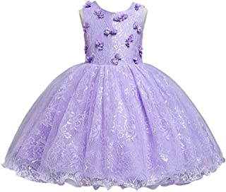 HUAANIUE Girls Pageant Wedding Birthday Party Dresses for Toddler and Baby Girl - Purple - 3T / 4T