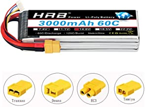 HRB 3000Mah 14.8V 4S 60C LiPo Battery Pack with XT60 Plug for RC Car Boat Truck Heli Airplane (EC3/Deans/Traxxas/Tamiya