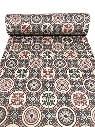 De'Carpet Vinilo PVC A Medida Alfombra FÁCIL Limpieza Antideslizante BALDOSA HIDRÁULICA ROJA (1 Metro Ancho) (1,5 Metros)