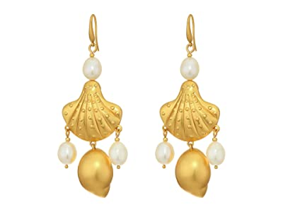 Tory Burch Shell and Pearl Drop Earrings (Rolled Brass/Pearl) Earring