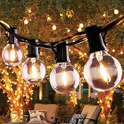 Outdoor String Lights, 27FT G40 LED Garden Patio Outside String Lights,Waterproof for Indoor/Outdoor Decoration String Lights(25 Bulbs+3 Replacement Bulbs+3 Fuses)