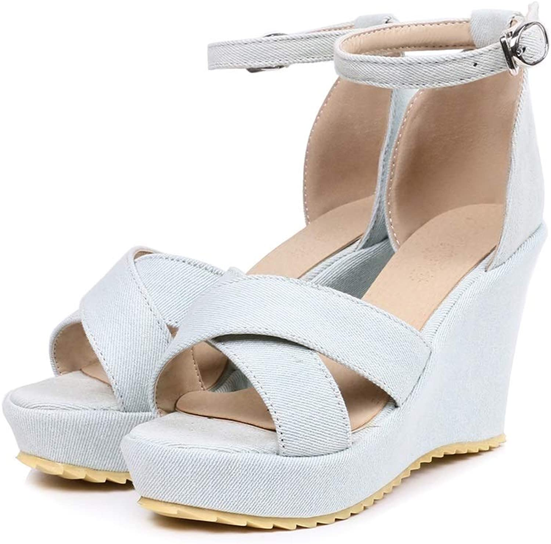 Sandalen Damen Sandalen Sommer Denim Cross mit Open Toe High Heel wasserdichte Sandalen Strandsandalen Schuhe (Farbe   Weiß, Größe   36EU)