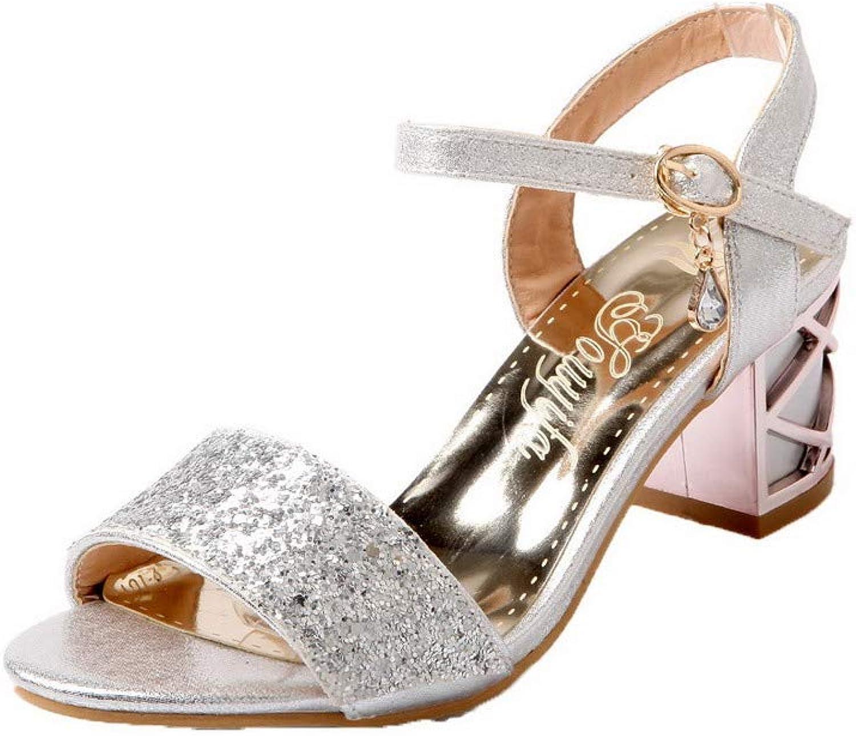 AmoonyFashion Women's Blend Materials Buckle Open-Toe Kitten-Heels Sandals, BUTLT007572