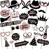 36 Pezzi Puntelli per Cabine per Foto in Oro Rosa per Feste, Compreso Cappelli Bicchiere da Vino Rossetto Cravatta Corone E Altri Stili per Festa di Varietà Compleanno Matrimoni