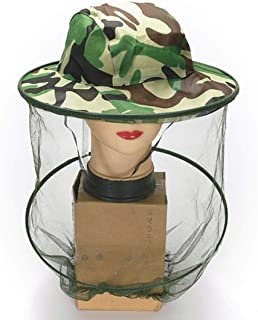 everd1487HH Outdoor Camouflage Hat Mesh Cover Mosquito Insect Bug Net Face Camping Protector - Green
