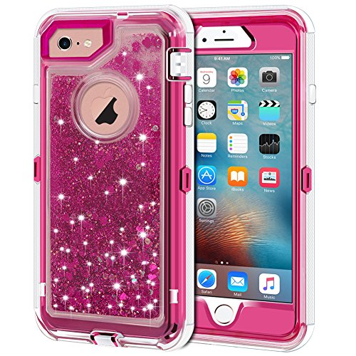 """iPhone 6S Case, iPhone 6 Case, Anuck 3 in 1 Hybrid Heavy Duty Defender Case Sparkly Floating Liquid Glitter Protective Hard Shell Shockproof TPU Cover for Apple iPhone 6 /iPhone 6S 4.7"""" - Rose Red"""