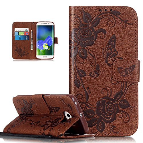 Coque Galaxy S6 Edge,Etui Galaxy S6 Edge, ikasus® Coque Galaxy S6 Edge Bookstyle Étui Housse en Cuir Case, Motif Gaufrage Papillon Rose Fleur Etui Housse Cuir PU Portefeuille Folio Flip Case Cover Wallet Coque Protection Étui avec Flex Soft Silicone TPU et Fonction Support Fermeture Aimantée Carte de crédit Logement Poches Case Coque Housse Étui pour Samsung Galaxy S6 Edge - Marron