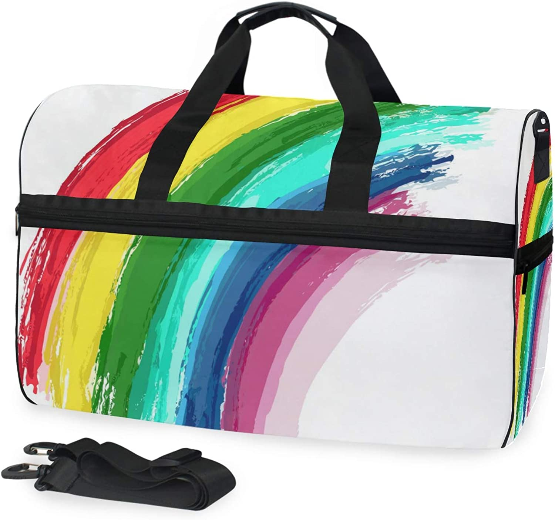 5b75b7b665a4 FANTAZIO Paint Rainbow Sports Bag Packable Duffle Bag, Lightweight ...