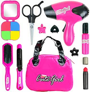 Big Mo's Toys Kids Beauty Salon Set, Stylish Girls Beauty Fashion Pretend Play Toy with Cosmetic Bag, Hairdryer, Curling I...