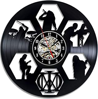 LKCAK Dream Theater Band Redondo Hueco Disco de Vinilo Reloj de Pared Material de Vinilo Hogar Moderno Decoración Vintage