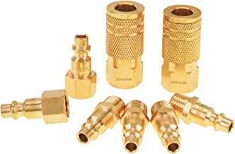 SUNGATOR Air Coupler and Plug Kit, Quick Connect Air Fittings, 1/4 Inch NPT Industrial Brass Air Hose Fitting (8-Piece)