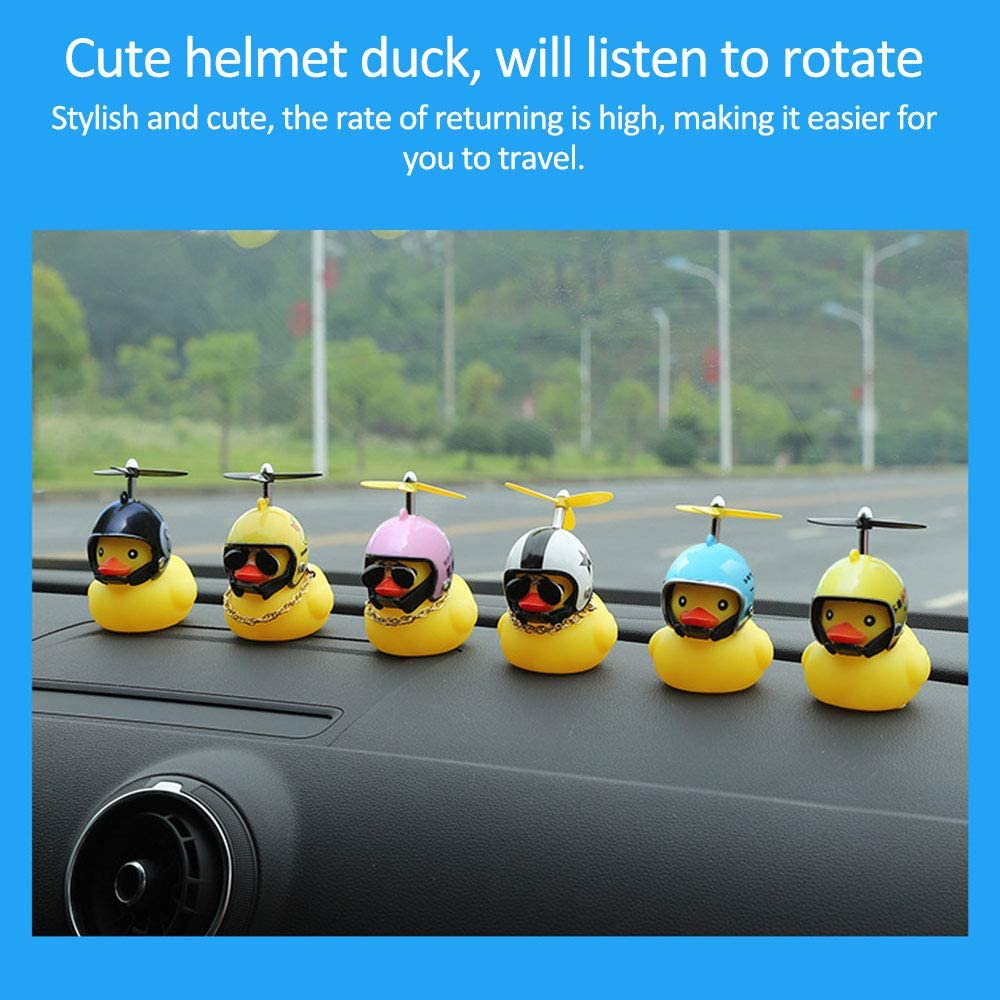 Huir Rubber Duck Toy Car Accesorios Little Yellow Duck Decoraciones Usando Cascos Duro Lindo e Interesante Juguetes para Coche Bicicleta