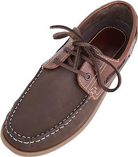 Absolute Footwear Chaussures bateau décontractées en cuir véritable pour homme avec fermeture à lacets