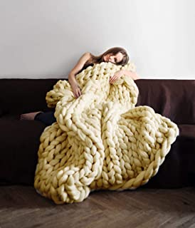 Knit Chunky Blanket Giant Throw Merino Wool Yarn Hand Made Bed Sofa Chair Mat(Beige 32