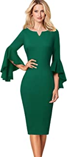 8115ab2d VFSHOW Womens Ruffle Bell Sleeves Business Cocktail Party Sheath Dress