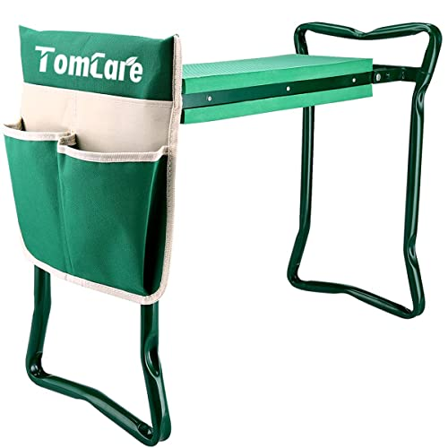 TomCare Garden Kneeler Seat Garden Bench Garden Stools Foldable Stool With  Tool Bag Pouch EVA Foam