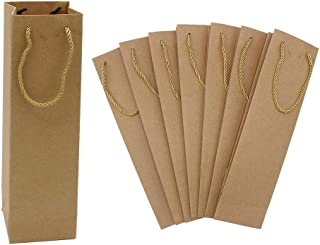 HRX Package Premium Kraft Paper Wine Gift Bags with Handles, 12PCS Sturdy Single Bottle Wine Holder Tote Bag for Christmas, Party, Shopping, Retail Merchandise (Brown)