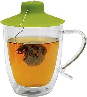 Primula Double Wall Glass Mug and Tea Bag Buddy – Temperature Safe 16 oz. Clear Glass Mug – 100% Food Grade Green Silicone Tea Bag Buddy – Dishwasher and Microwave Safe Set