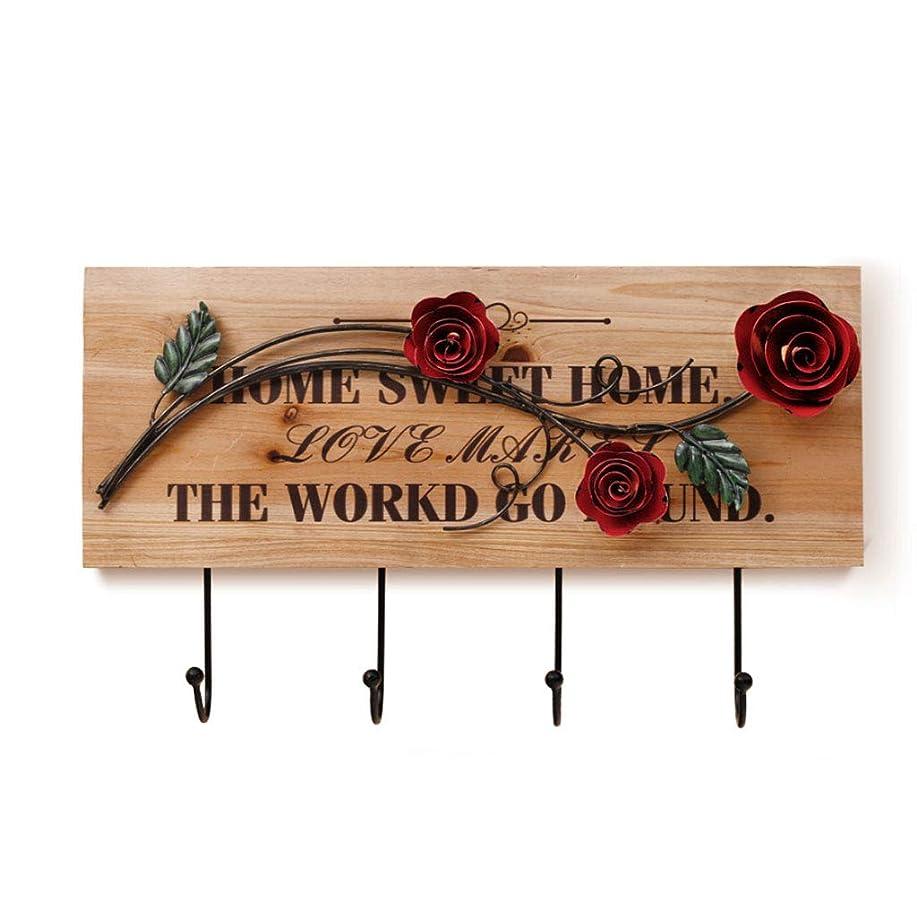 雄弁家みなさん消化器OPIIOJJ コートラック- ヨーロッパのクリエイティブソリッドウッド装飾フック、リビングルームのベッドルーム鍛鉄の壁掛けコートフック (Color : Wood color, Size : W30xL50cm)