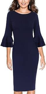 Women's Trumpet 3/4 Sleeve Slim Fit Business Career Sheath Dress